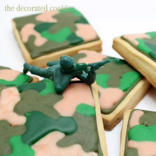 camo cookies - camouflage print on decorated cookies