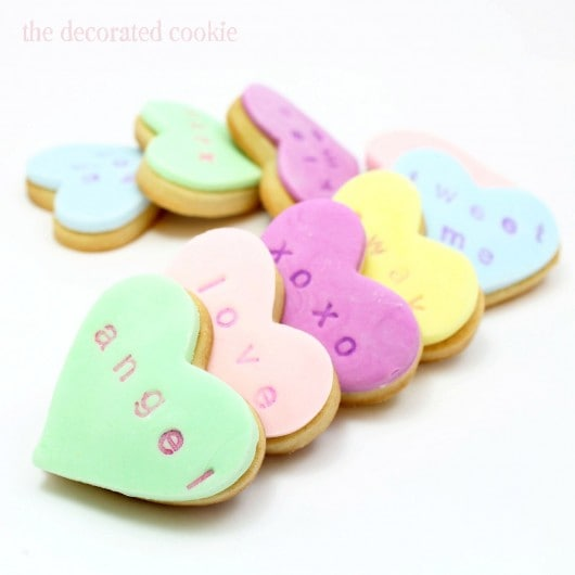 Sweet Peek Stamped Conversation Heart Cookies The