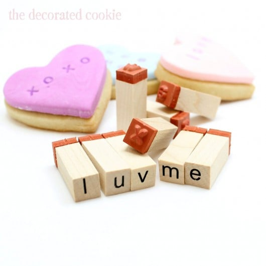 stamped conversation heart cookies for Valentine's Day