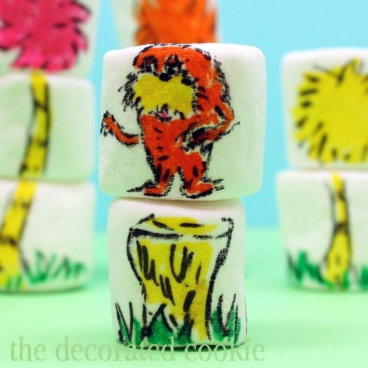 Dr. Seuss marshmallows - The Lorax marshmallow art