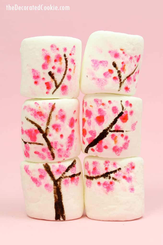 How to make cherry blossom marshmallows, a fun food for spring, using food writers.