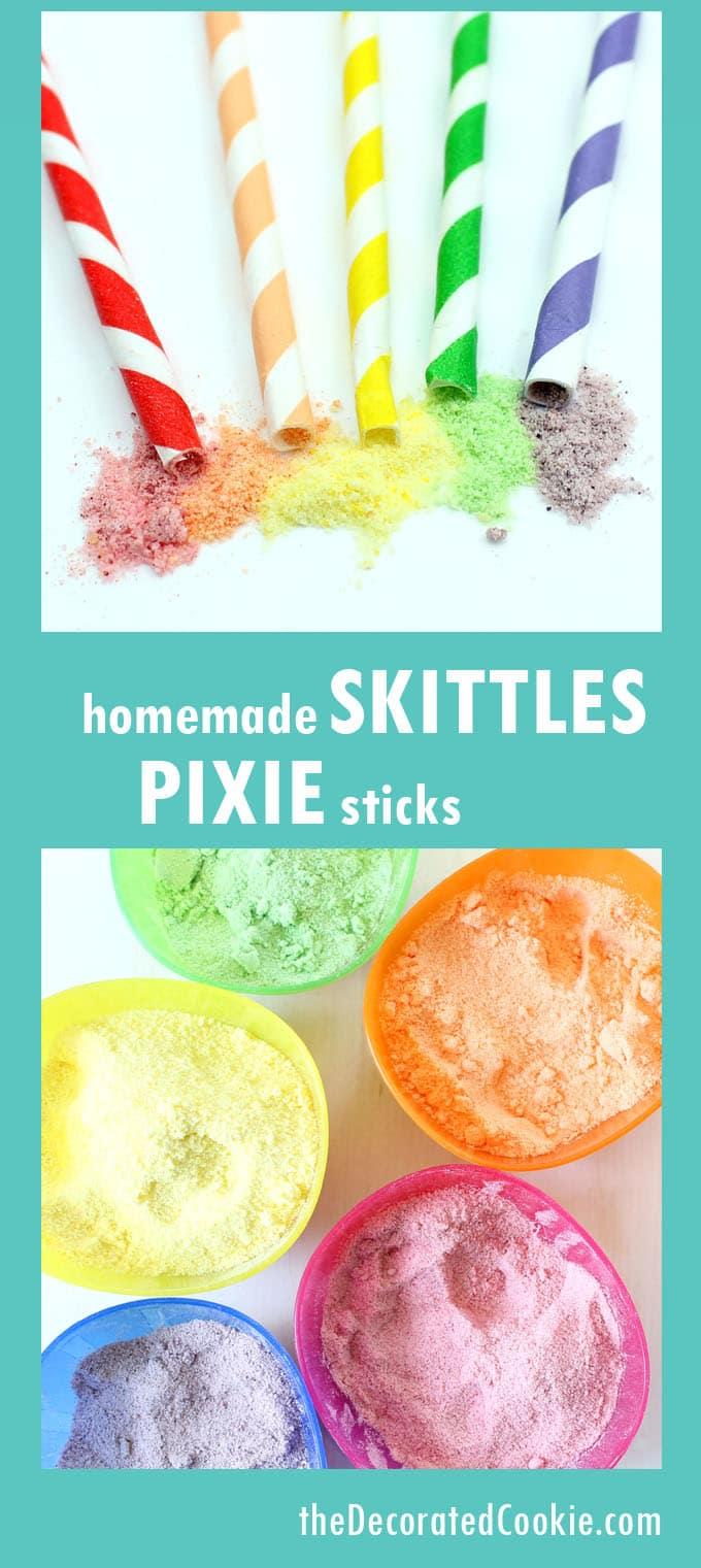 Homemade Skittles Pixie Sticks.