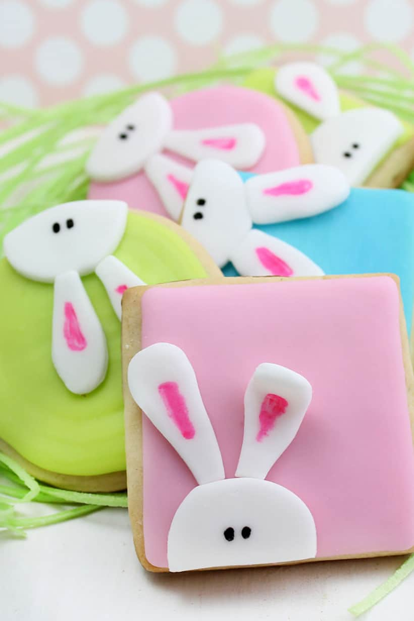 bunny cookies for Easter with royal icing and fondant
