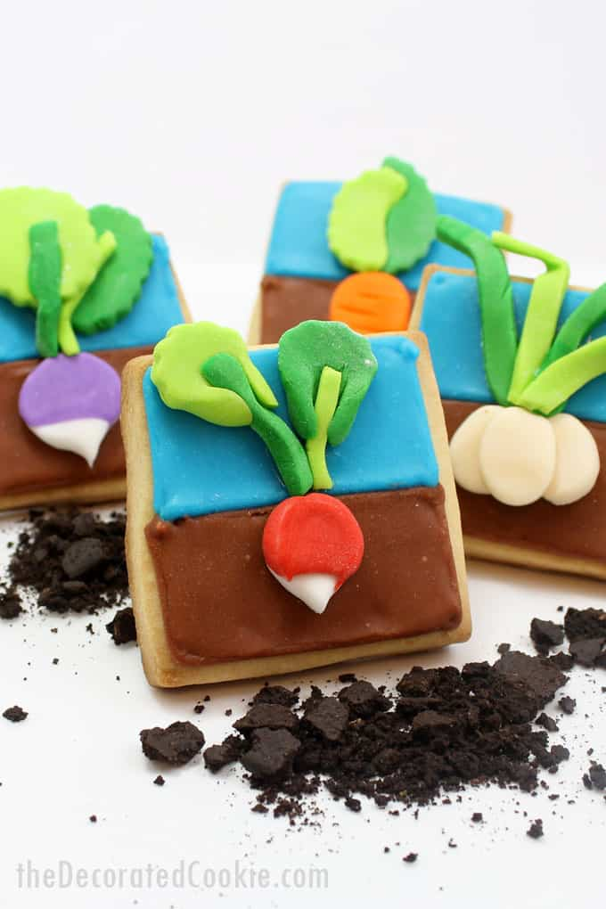 How to decorate vegetable garden cookies, a fun food idea for spring, Mother's Day, Earth Day, or a garden party.
