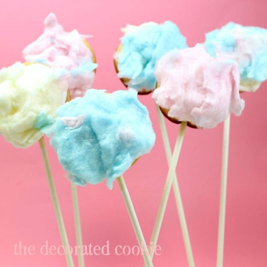 fuzzy bunny tail cookie pops - cotton candy bunny tail cookies
