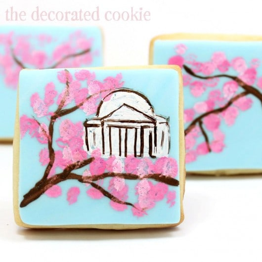 painted cherry blossom cookies