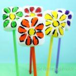 rainbow flower marshmallow pops