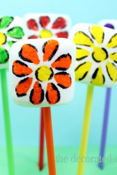 rainbow flower marshmallow pops