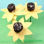 sunflower marshmallow pops with paper