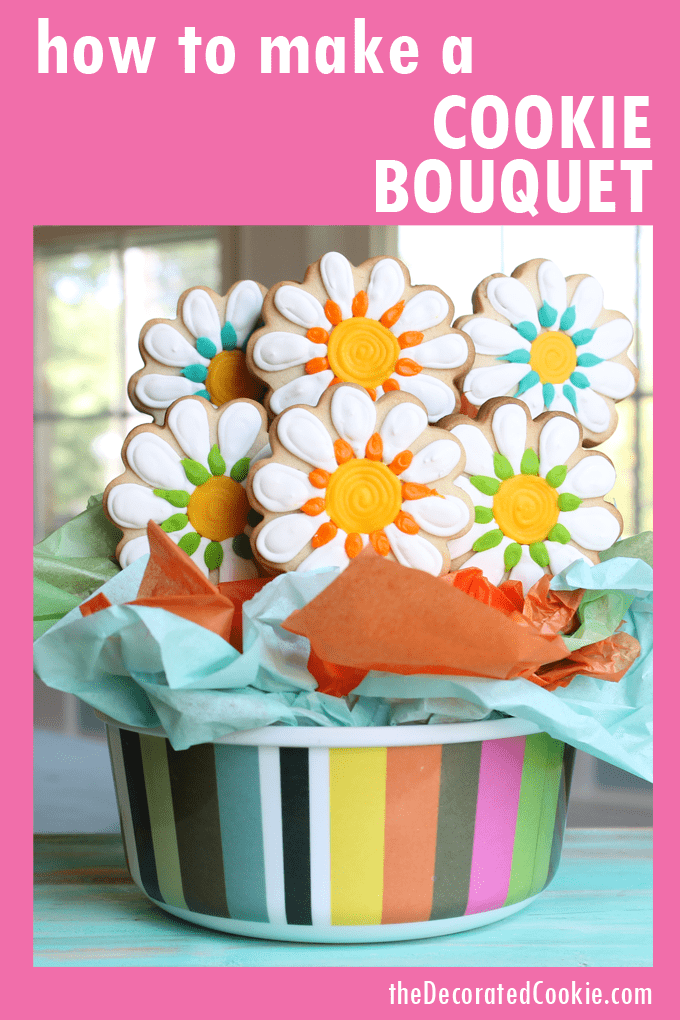 how to make a cookie arrangement or cookie bouquet #CookieBouquet #cookiearrangement #cookiepops #DecoratedCookies #SugarCookies