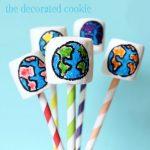 rainbow earth marshmallow pops