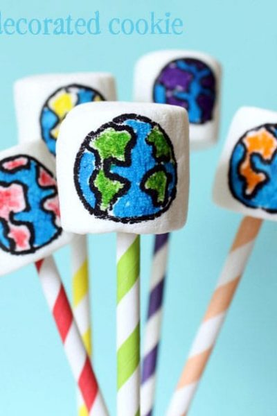 rainbow earth marshmallow pops