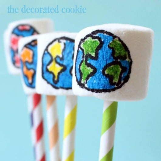 rainbow Earth Day marshmallow pops