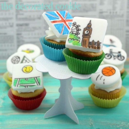 Olympics cupcakes for Bird's Party Magazine