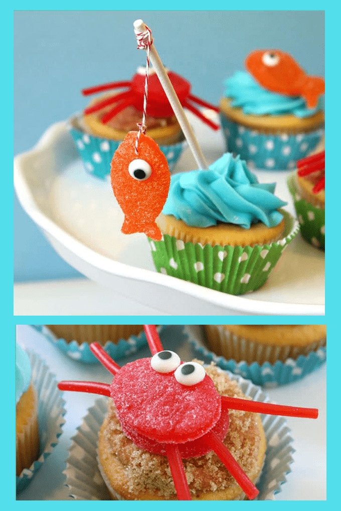 "To make summer-themed beach treats, make gumdrop crab and fish cupcakes. These summer cupcake ideas with candy toppers are cute and easy. ""Gone Fishing"" Father's Day cupcakes."