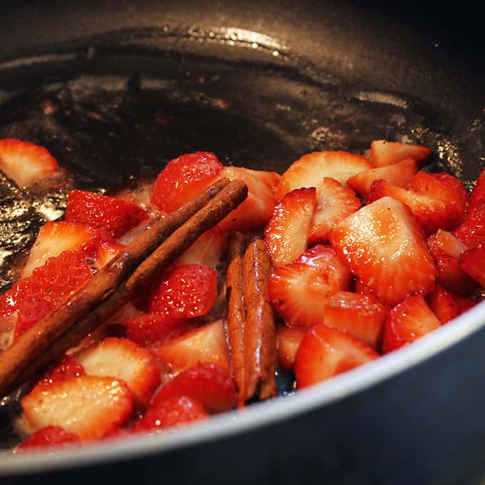strawberry spread cooking in skillet