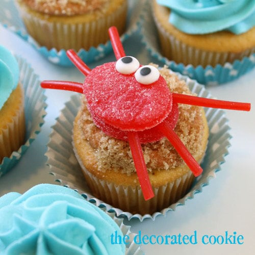 gumdrop crab and fish cupcake toppers
