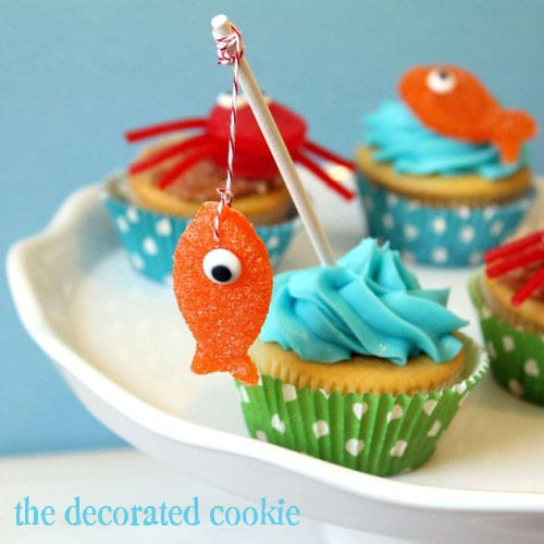 crab and fish cupcake toppers