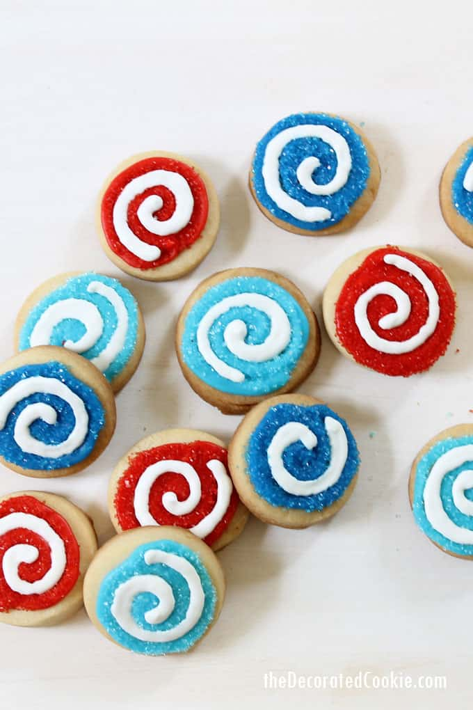 bite size red, white and blue swirl 4th of July cookies