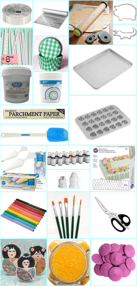 supplies and tools for baking and decorating sweets
