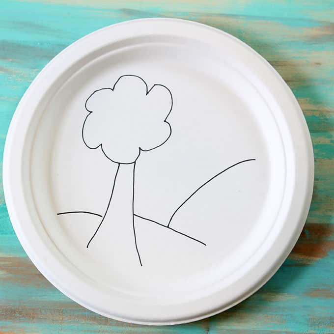 paper plate with scene drawn