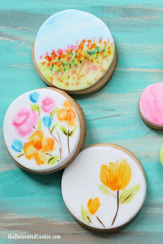 PAINTED WATERCOLOR COOKIES: Use food coloring and water to paint with a watercolor effect on fondant or royal icing to decorate cookies, cupcakes and cakes.