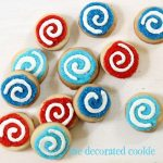 red, white and blue swirl 4th of July cookies