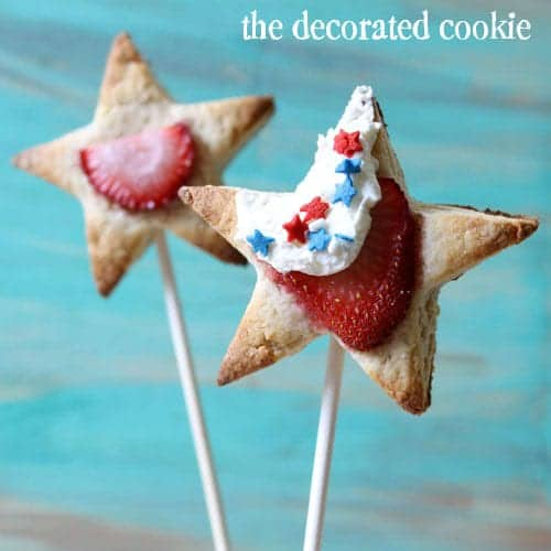 strawberry shortcake pops - star starberry shortcake pops for summer and 4th of July