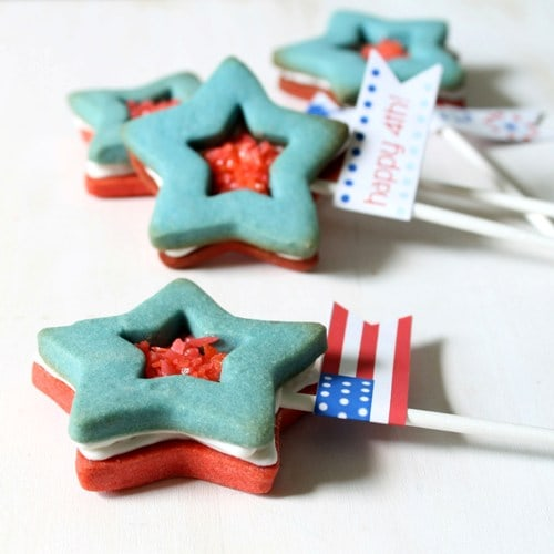 red, white and blue star Pop Rocks cookie pops for the 4th of July