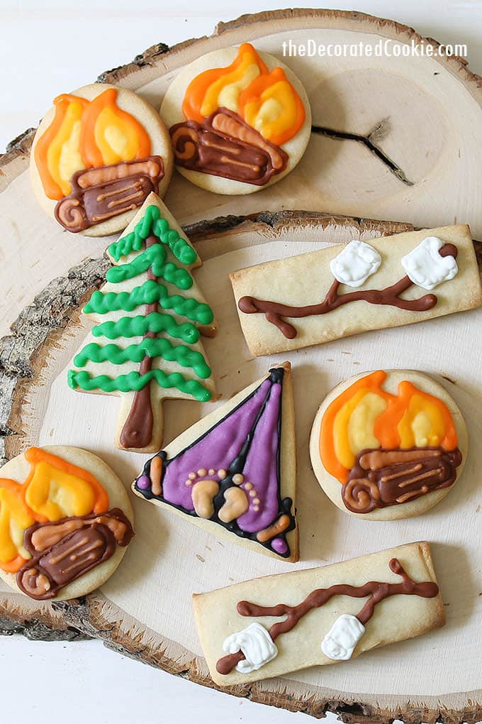 DECORATED camping cookies