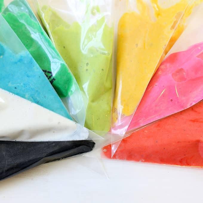 pancake batter in decorating bags