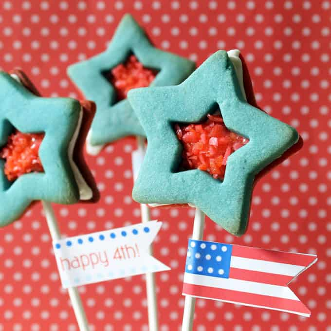 Pop Rocks star cookies, 4th of July sandwich cookies with red polka dot background