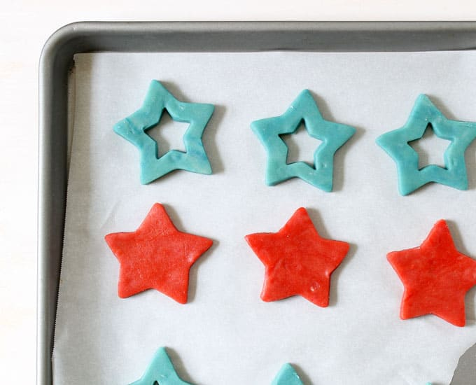 Pop Rocks star cookies, 4th of July sandwich cookies unbaked on tray