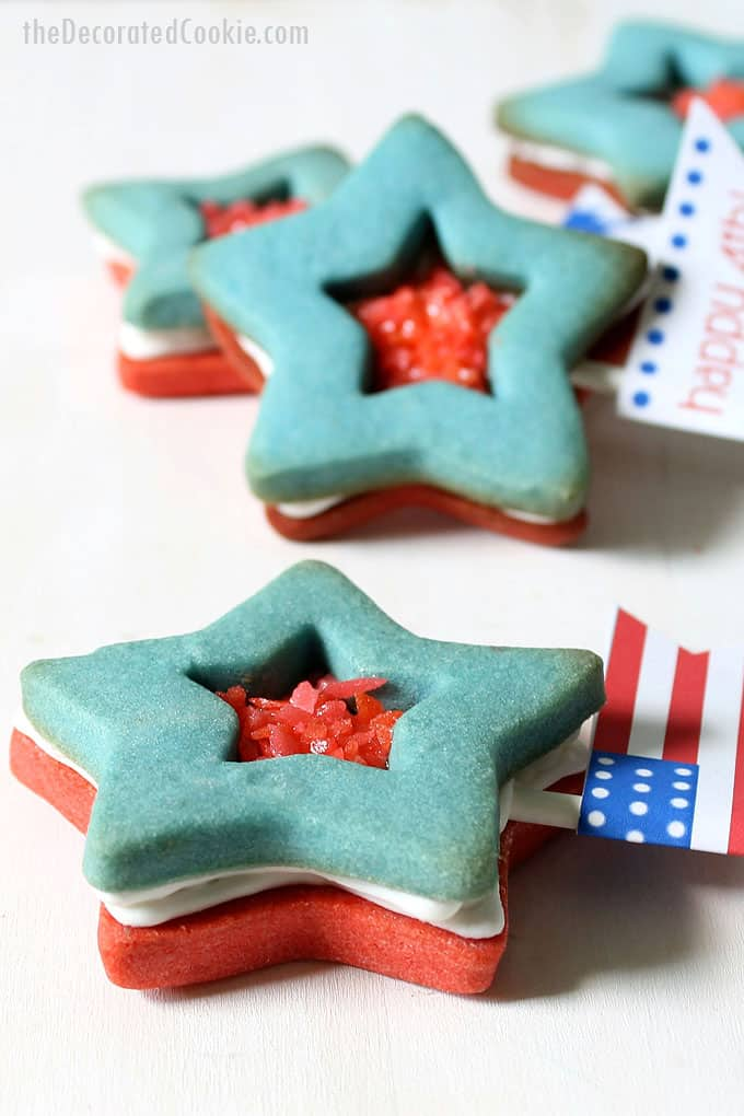 side view of Pop Rocks star cookies, 4th of July sandwich cookies