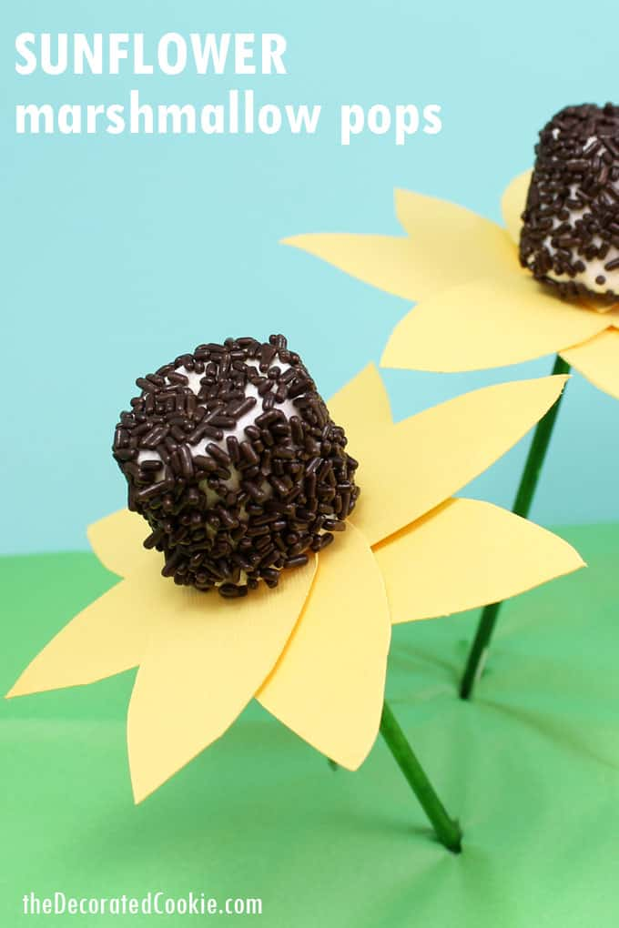 SUNFLOWER MARSHMALLOW POPS with paper petals