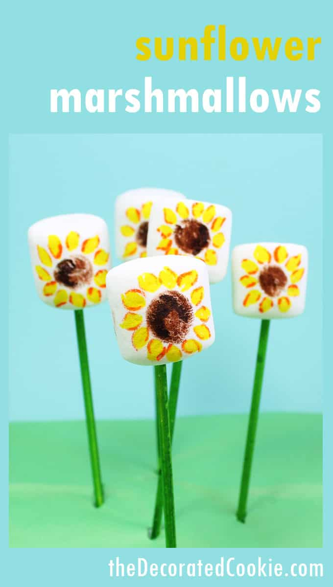 Use food writers to make simple sunflower marshmallow pops.