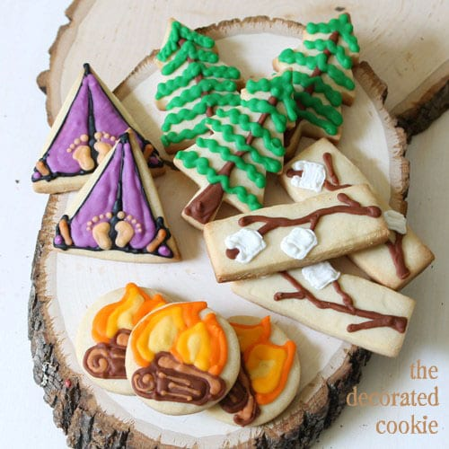 mini camping cookies and tips on shipping cookies