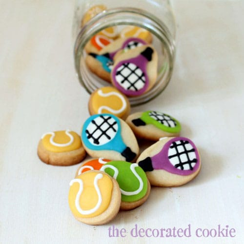 bite-size tennis cookies in a jar