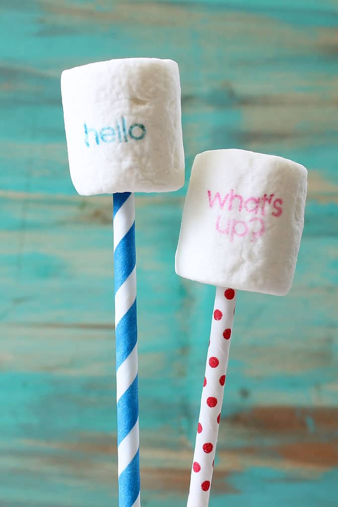 HOW TO STAMP MARSHMALLOWS with food coloring pens