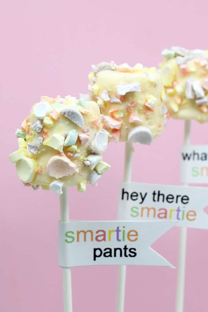 "BACK TO SCHOOL marshmallows: Fun ""Smarties' marshmallow pops with free back to school printables."