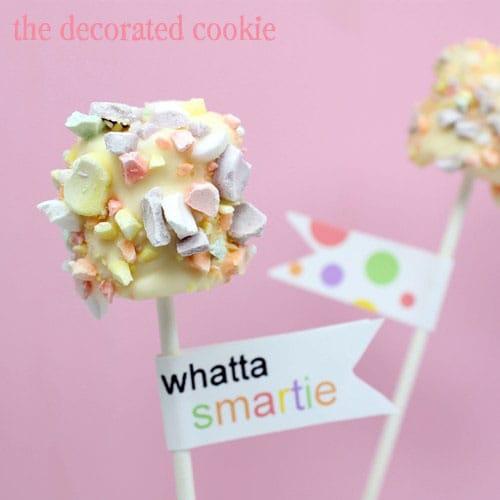 smarties marshmallow pops