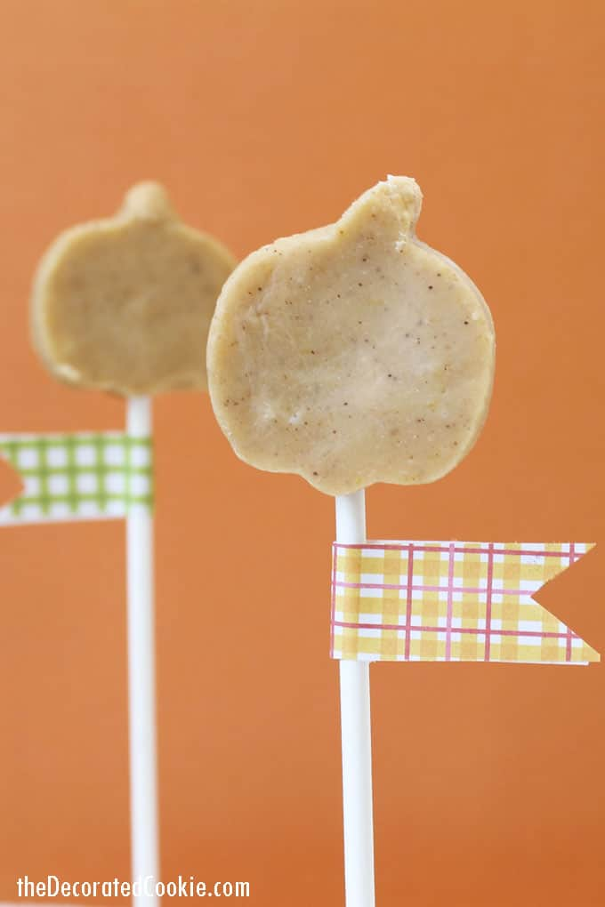 Easy, yummy bite-size pumpkin fudge on a stick for fall. And a roundup of fun Fall food ideas using a pumpkin cookie cutter.