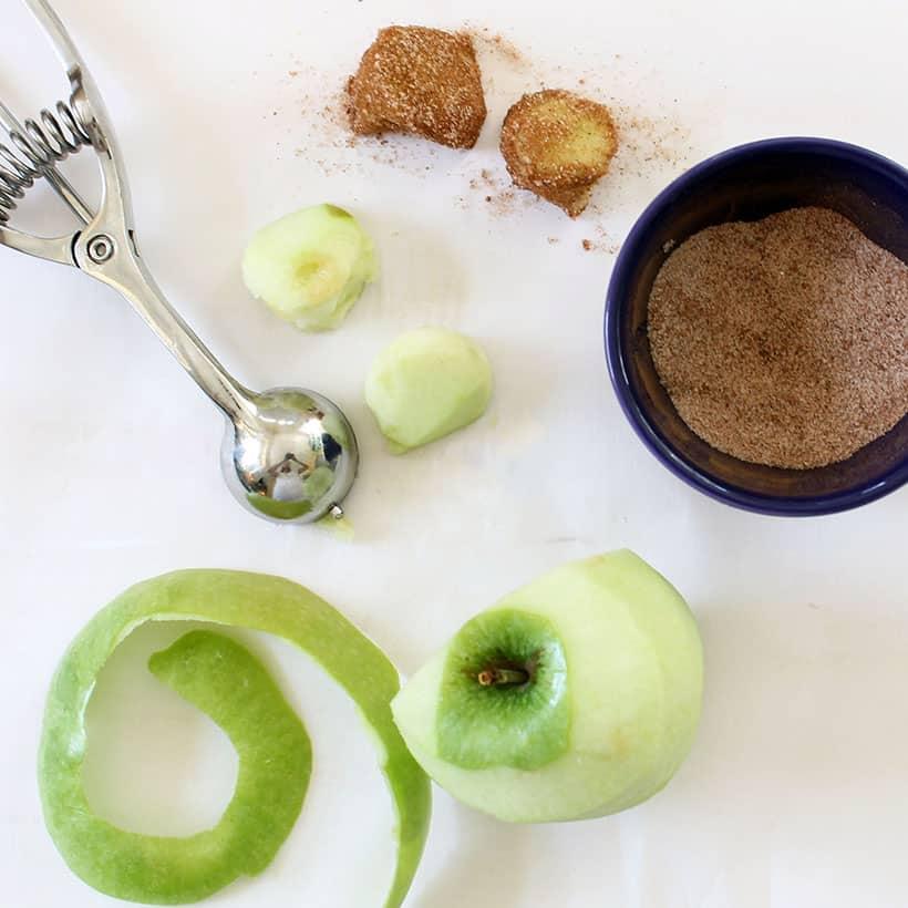 preparing apples for apple pie bites