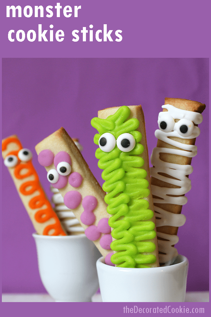 EASY DECORATED COOKIES for Halloween: MONSTER cookie sticks. #halloween #cookies #monsters #easycookies #decoratedcookies #royalicing