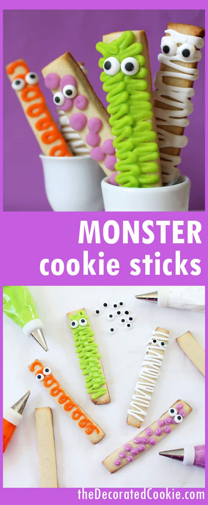 easy monster cookie sticks for Halloween