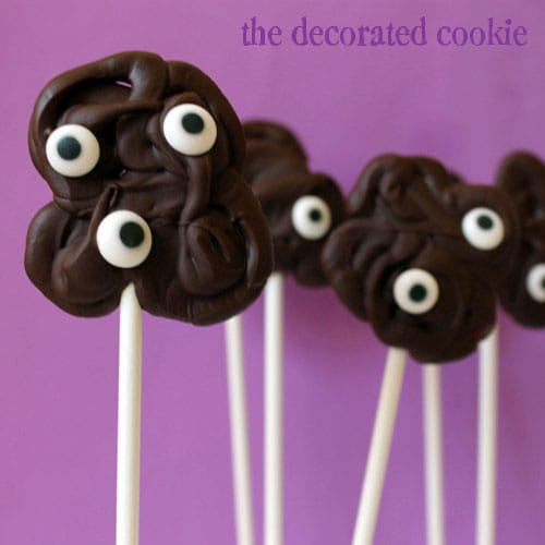 easy chocolate monster pops for Halloween