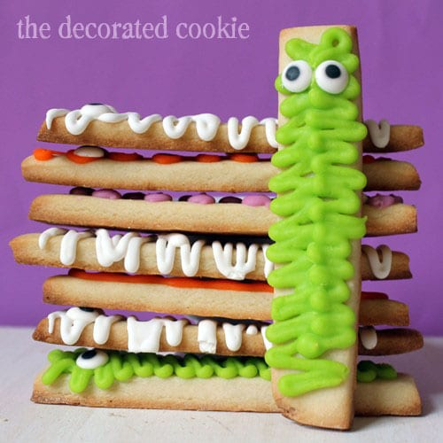 monster cookie sticks for Halloween