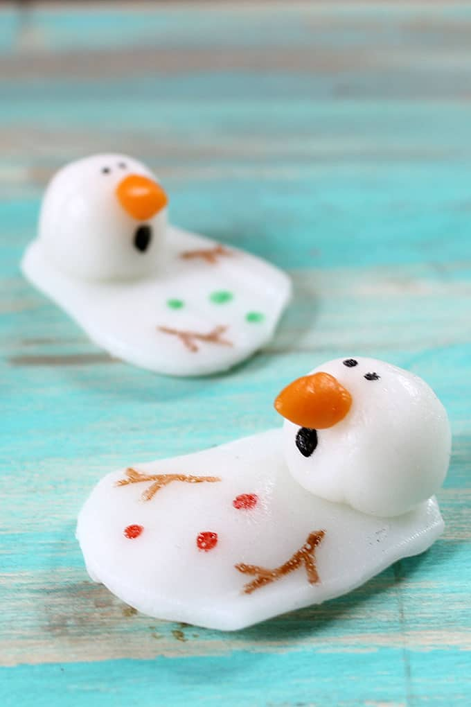 Melting snowman candy with Airheads, a sweet treat for Christmas or Winter.