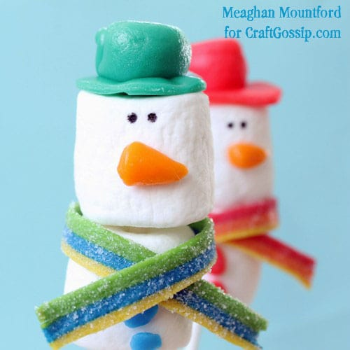 snowman marshmallow pops with Airheads accessories