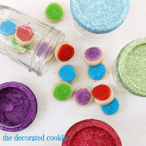 glittery mason jar cookie gifts